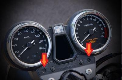 インジケーターランプが2つのバイク
