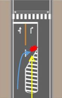 右折専用レーンのゼブラゾーン