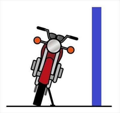 バイクの左側をカベに寄せて停める