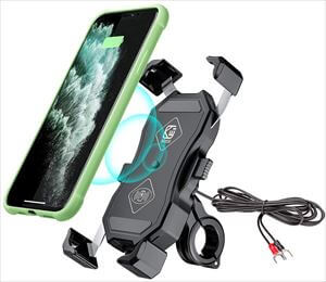 Yblntek バイク スマホ ホルダー Qiワイヤレス充電 QC3.0 IP66防水