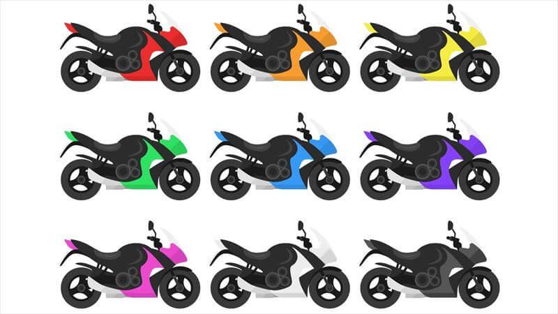 バイクと同じ色は埋没する、  バイクの反対色はポップ